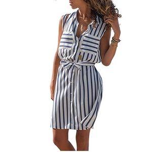 Sleeveless Shirtdress White Blue Striped Belt M